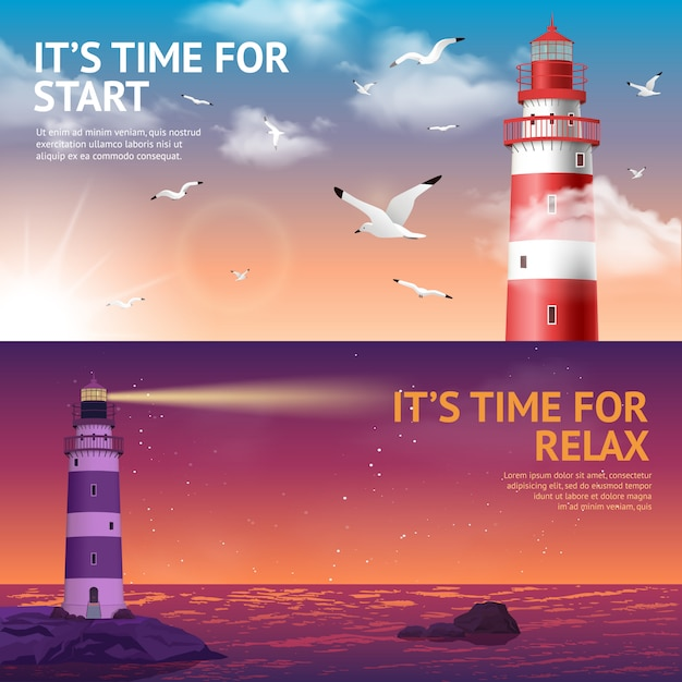 Lighthouse banner set Free Vector