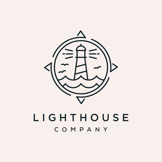 Lighthouse compass vector logo design template Premium Vector