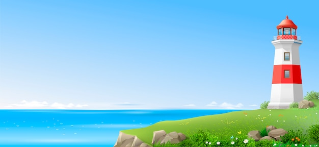 Lighthouse on a green hill above the sea Premium Vector