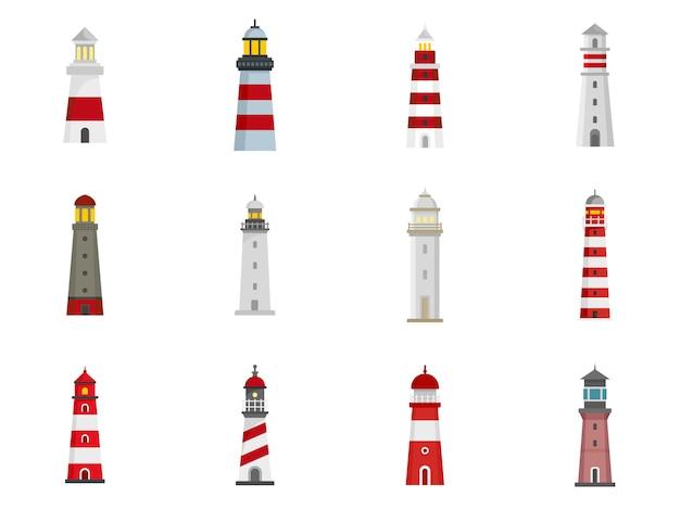 Lighthouse icon set Premium Vector