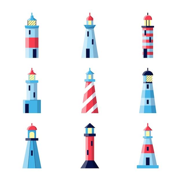Lighthouse icons set Premium Vector