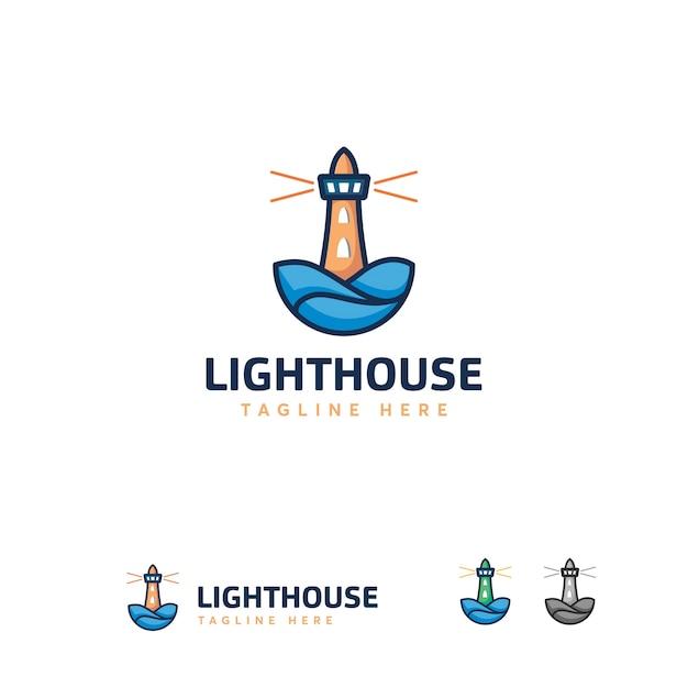 Уникальный дизайн логотипа lighthouse, дизайн логотипа line art Premium векторы