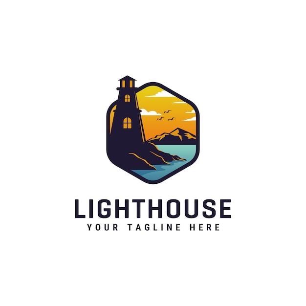 灯台のロゴデザインテンプレート Premiumベクター