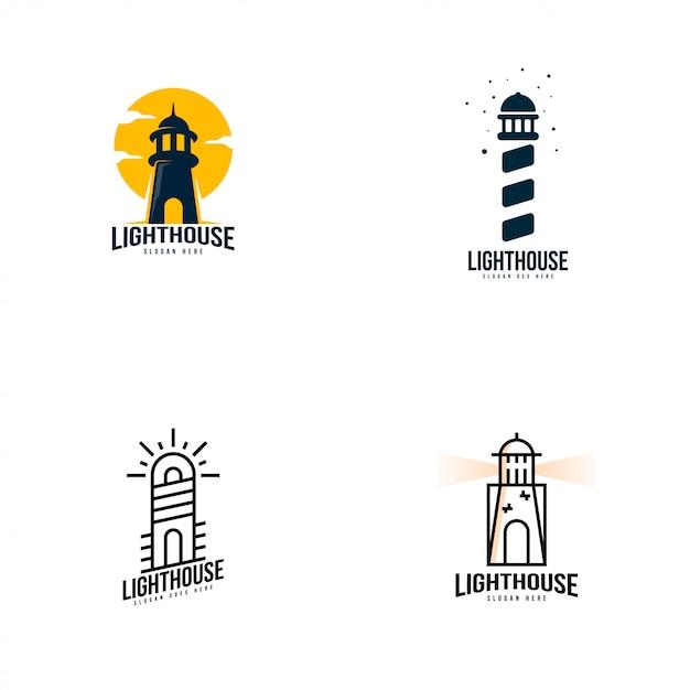 Lighthouse logo set vector Premium Vector