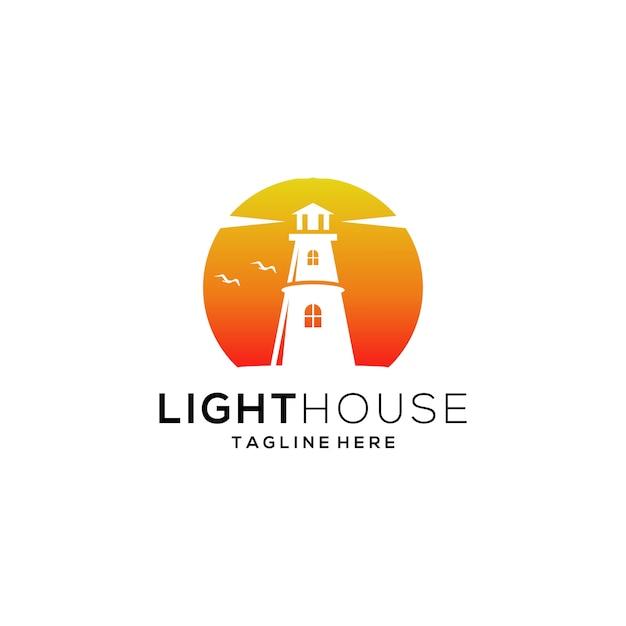 灯台のロゴのテンプレート Premiumベクター