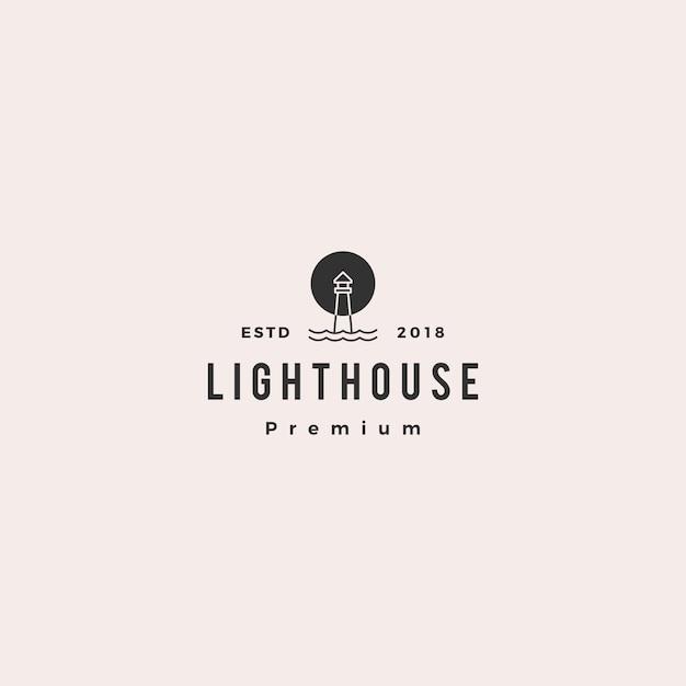 Lighthouse logo vector icon line outline monoline Premium Vector