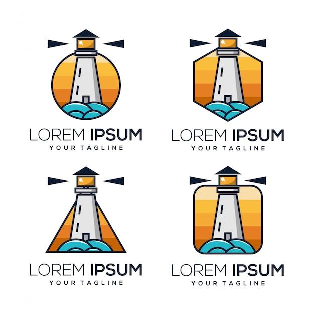 灯台のロゴ Premiumベクター