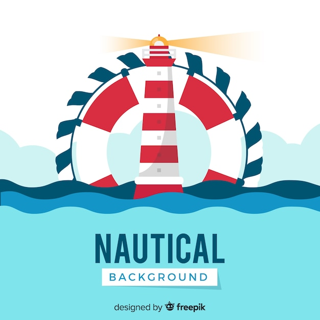 Lighthouse nautical background Free Vector