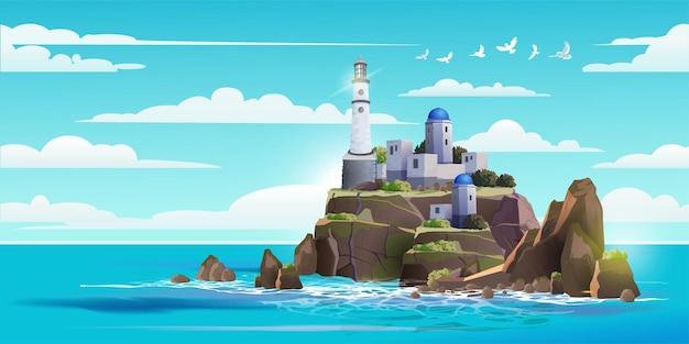 바위 돌 섬 그림에 등 대 프리미엄 벡터