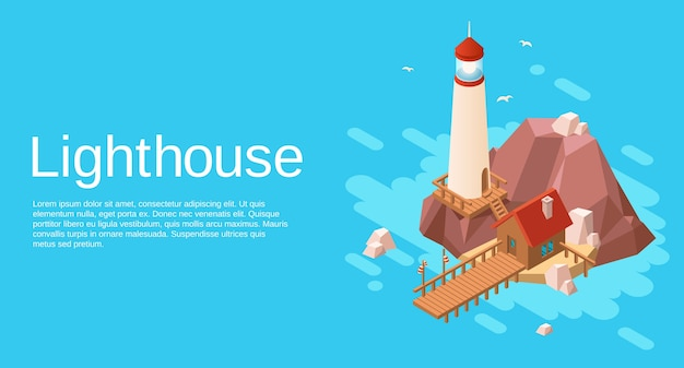 Lighthouse on rock stone cliff island with wooden house and pier on blue sea Premium Vector