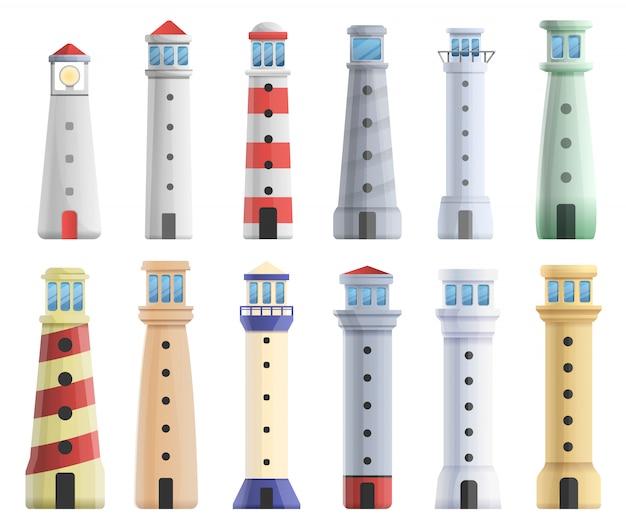 Lighthouse set, cartoon style Premium Vector