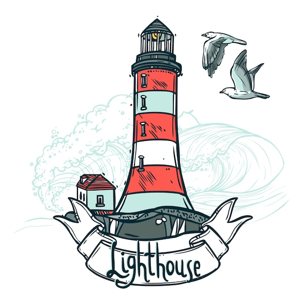 Lighthouse sketch illustration Free Vector