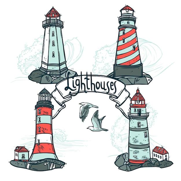 Lighthouse sketch set Free Vector