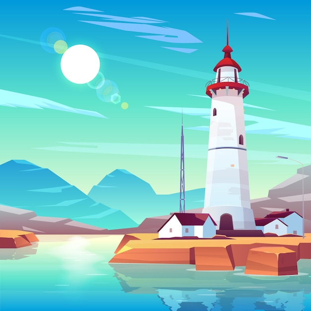 Lighthouse standing on rocky seashore surrounded with houses and tv tower under sun shining in cloudy sky. Free Vector