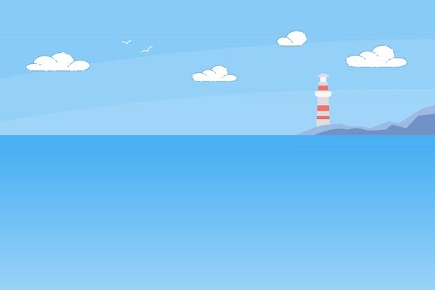 Lighthouse tower standing on rocky seashore Premium Vector