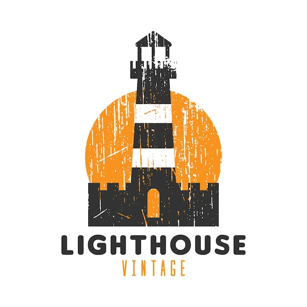 Lighthouse vintage logo Premium Vector