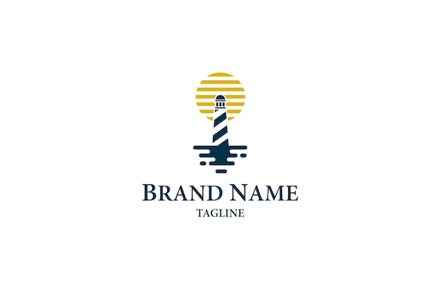 Lighthouse with moon on the sea logo Premium Vector