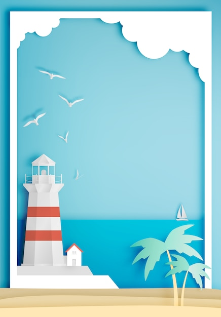 Lighthouse with ocean background frame paper art style Premium Vector