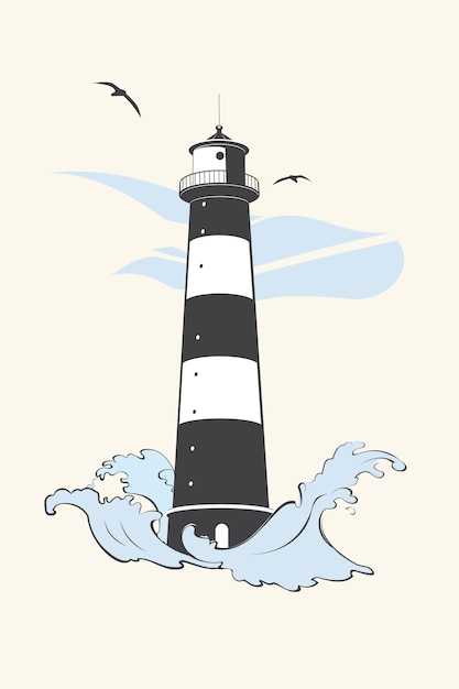 The lighthouse with waves and seagulls. Premium Vector