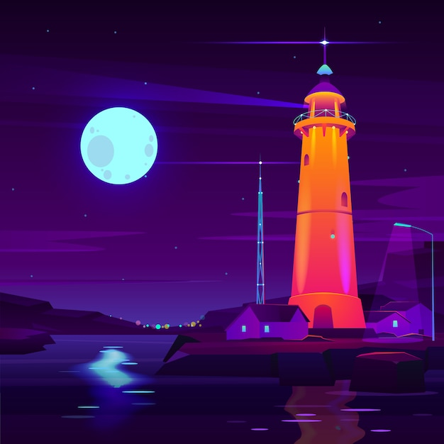 Lighthouse working, glowing at night on seashore cartoon vector. Free Vector