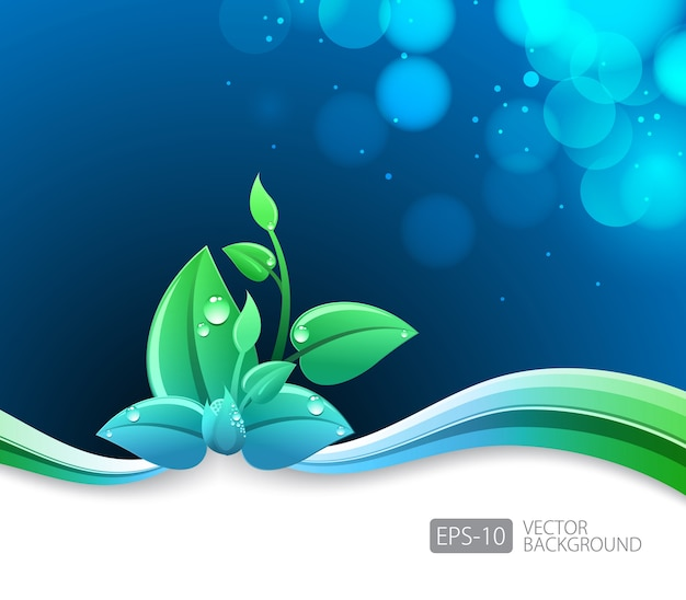 Lighting blue background with eco leaves and green wave Premium Vector  sc 1 st  Freepik & Lighting blue background with eco leaves and green wave Vector ...