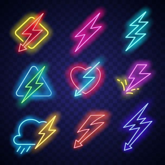 電気エネルギーネオンライト付き照明ボルトロゴ Premiumベクター
