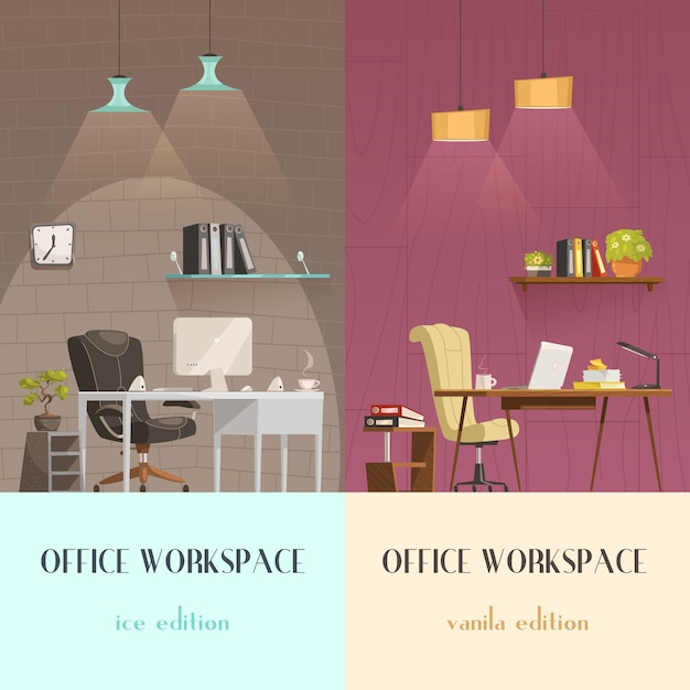 Lighting solutions for modern office workspace Free Vector