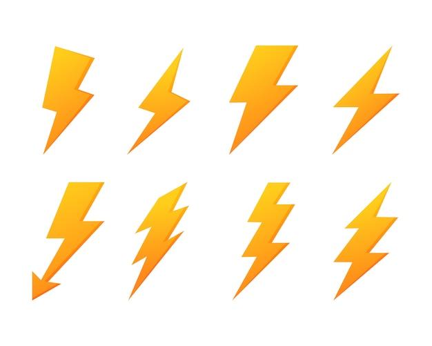 稲妻フラッシュアイコンを設定します。電力。分離された黄色の雷 Premiumベクター