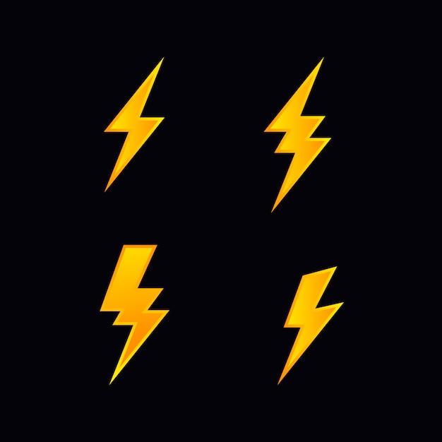 Lightning bolt flash vector icon set Premium Vector