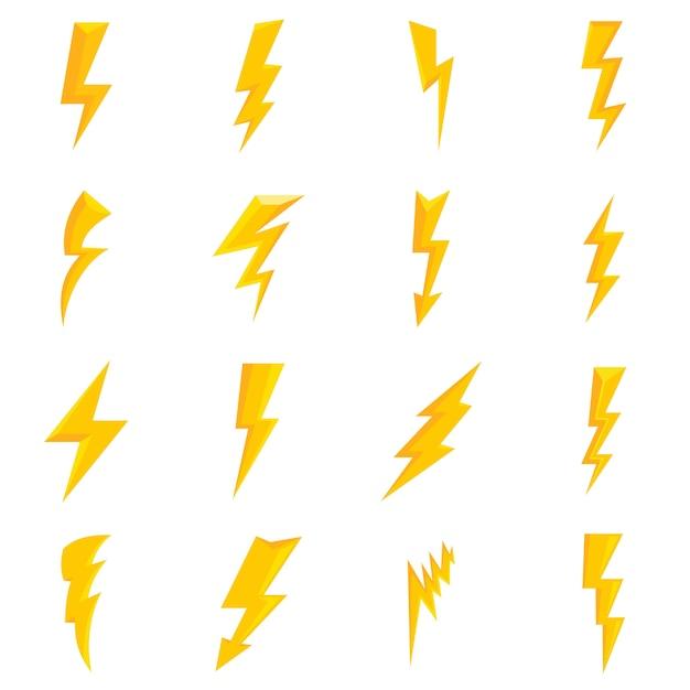 Lightning Bolt Icons Set Premium Vector