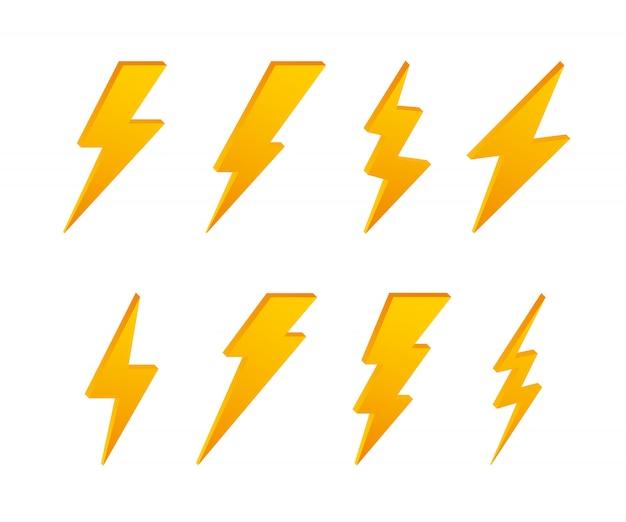 Lightning bolt. thunder bolt, lighting strike expertise.  . Premium Vector