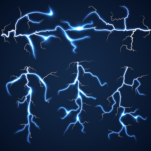 Lightning bolts over dark sky set Premium Vector