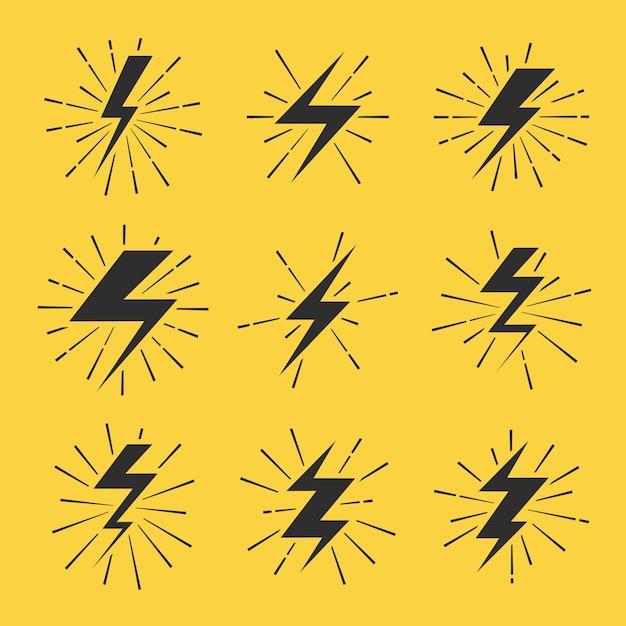 Lightning bolts vector icons set Premium Vector
