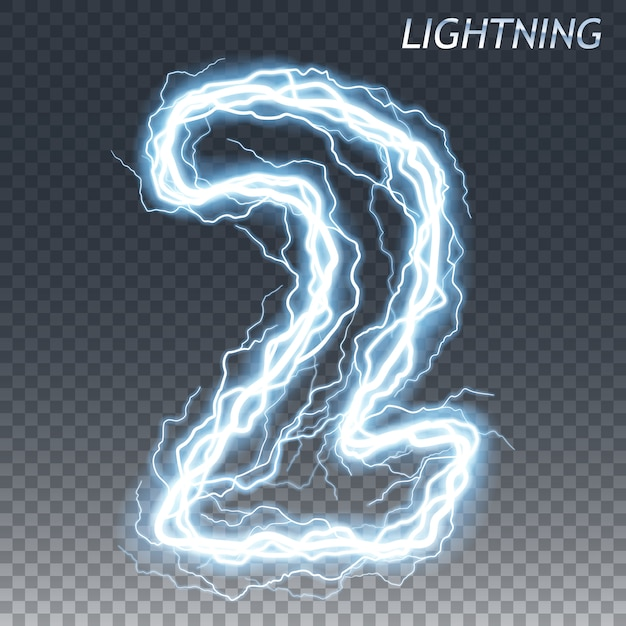Lightning and electric number Premium Vector