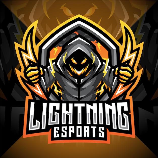 Lightning esport mascot logo design Premium Vector
