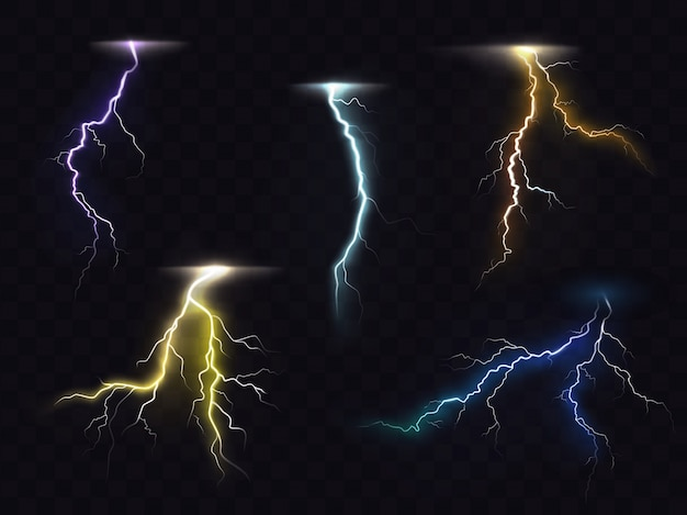 Lightning flash glowing light effects vector set Free Vector