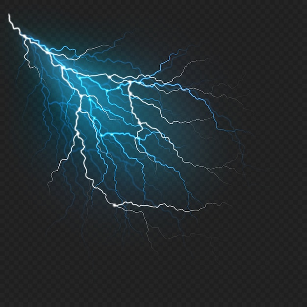 Молния вспышка света реалистичный эффект. громовая искра на темном прозрачном фоне. Premium векторы