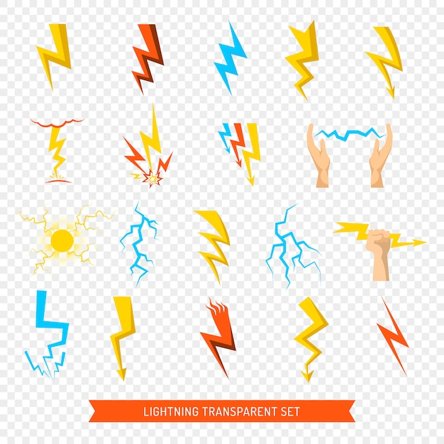 Lightning icons transparent set Free Vector