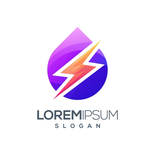 Lightning inspiration gradient color logo Premium Vector