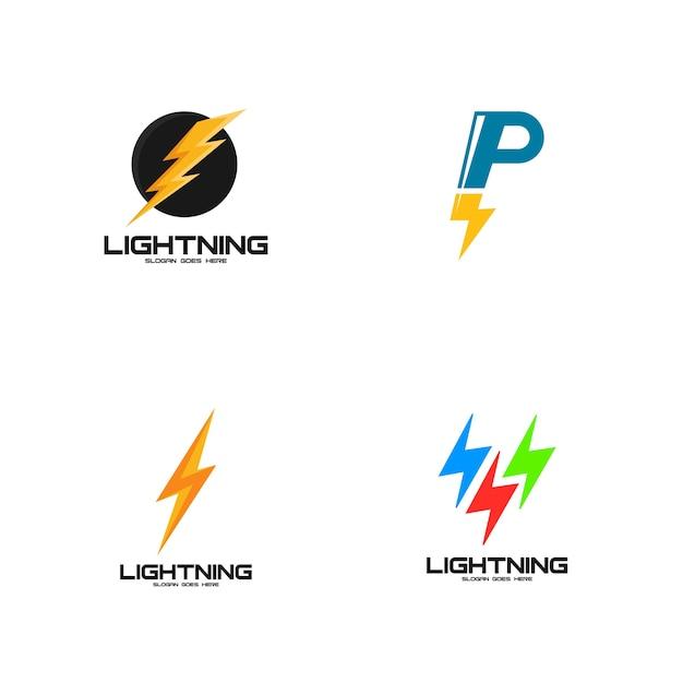 Lightning Logo Set Premium Vector