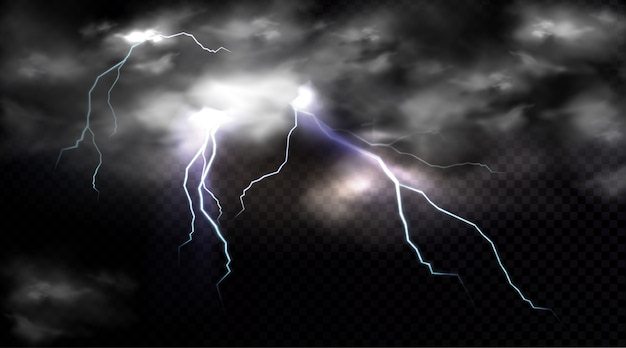 Lightning strikes and thundercloud, electric discharge and storm cloud, impact place or magical energy flash. Free Vector