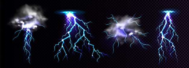 Lightning strikes and thundercloud, impact place Free Vector