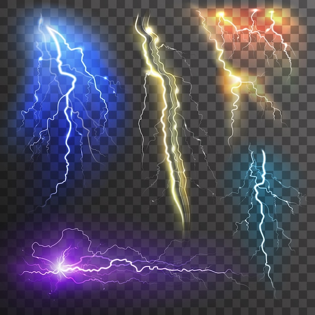 Lightning transparent set in different colors realistic Free Vector