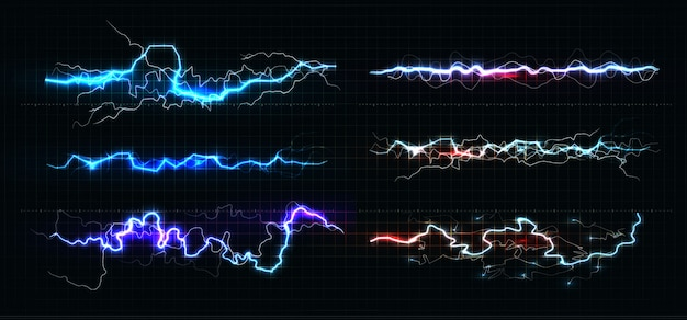 Lightning various colors set, glowing thunderbolt and brightning power shock magic lines on black background. Premium Vector