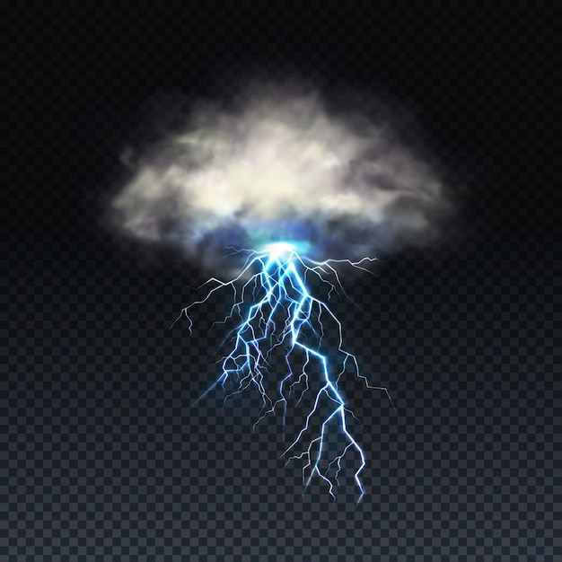 Lightning with grey cloud isolated on transparent background Free Vector