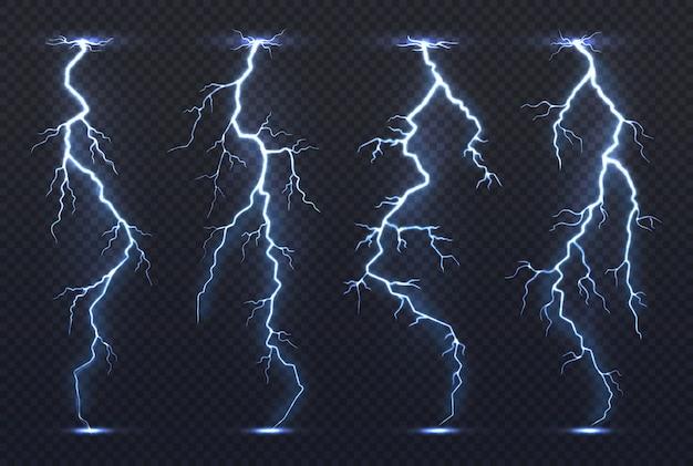 Lightning. гроза электричество голубое небо флэш шторм реалистичные гроза ливень климат. Premium векторы