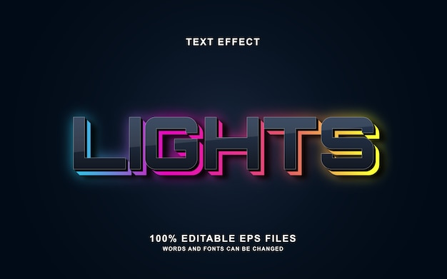 Lights 3d text style effect Premium Vector
