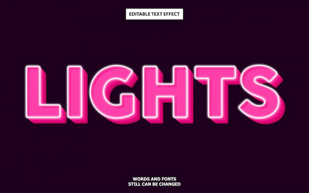 Lights editable text effect Premium Vector