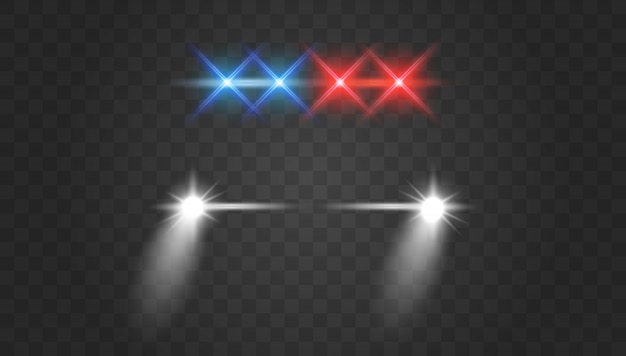 Lights flares and siren effect front view. police car headlights and blinking red siren lights. Premium Vector