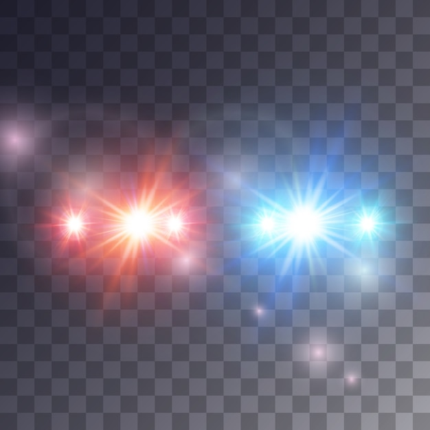 Lights siren effect  on dark background,  illustration Premium Vector